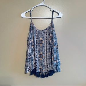 AE Off the Shoulder Tassel Peasant Top Size XL